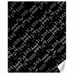 Black And White Ethnic Geometric Pattern Canvas 16  X 20  by dflcprintsclothing