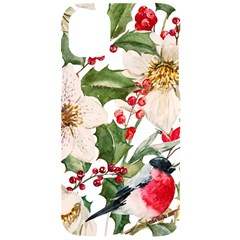 Xmas Flower And Bird Iphone 11 Black Uv Print Case by xmasyancow