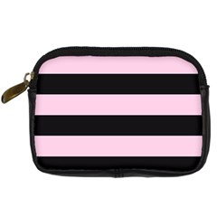 Black And Light Pastel Pink Large Stripes Goth Mime French Style Digital Camera Leather Case by genx