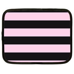 Black And Light Pastel Pink Large Stripes Goth Mime French Style Netbook Case (xl) by genx