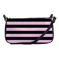 Black And Light Pastel Pink Large Stripes Goth Mime French Style Shoulder Clutch Bag by genx