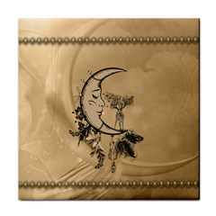 Deer On A Mooon Tile Coaster by FantasyWorld7