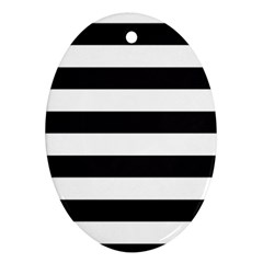 Black And White Large Stripes Goth Mime French Style Oval Ornament (two Sides) by genx