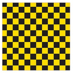 Checkerboard Pattern Black And Yellow Ancap Libertarian Large Satin Scarf (square) by snek