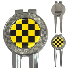 Checkerboard Pattern Black And Yellow Ancap Libertarian 3-in-1 Golf Divots by snek