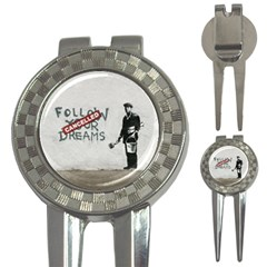 Banksy Graffiti Original Quote Follow Your Dreams Cancelled Cynical With Painter 3-in-1 Golf Divots by snek