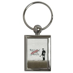 Banksy Graffiti Original Quote Follow Your Dreams Cancelled Cynical With Painter Key Chain (rectangle) by snek