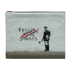 Banksy Graffiti Original Quote Follow Your Dreams Cancelled Cynical With Painter Cosmetic Bag (xl) by snek