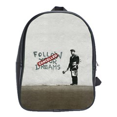 Banksy Graffiti Original Quote Follow Your Dreams Cancelled Cynical With Painter School Bag (large) by snek