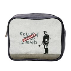 Banksy Graffiti Original Quote Follow Your Dreams Cancelled Cynical With Painter Mini Toiletries Bag (two Sides) by snek