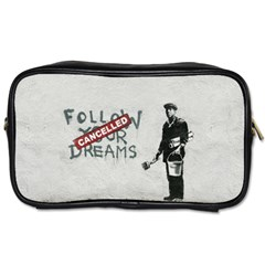 Banksy Graffiti Original Quote Follow Your Dreams Cancelled Cynical With Painter Toiletries Bag (one Side) by snek