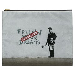 Banksy Graffiti Original Quote Follow Your Dreams Cancelled Cynical With Painter Cosmetic Bag (xxxl) by snek
