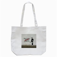 Banksy Graffiti Original Quote Follow Your Dreams Cancelled Cynical With Painter Tote Bag (white) by snek