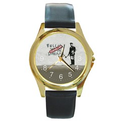 Banksy Graffiti Original Quote Follow Your Dreams Cancelled Cynical With Painter Round Gold Metal Watch by snek