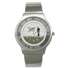 Banksy Graffiti Original Quote Follow Your Dreams Cancelled Cynical With Painter Stainless Steel Watch by snek