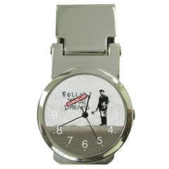 Banksy Graffiti Original Quote Follow Your Dreams Cancelled Cynical With Painter Money Clip Watches by snek
