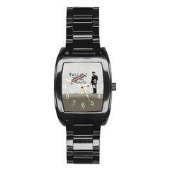 Banksy Graffiti Original Quote Follow Your Dreams Cancelled Cynical With Painter Stainless Steel Barrel Watch by snek