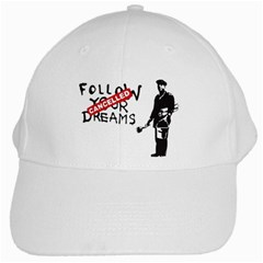 Banksy Graffiti Original Quote Follow Your Dreams Cancelled Cynical With Painter White Cap by snek