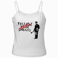 Banksy Graffiti Original Quote Follow Your Dreams Cancelled Cynical With Painter White Spaghetti Tank by snek