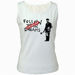 Banksy Graffiti Original Quote Follow Your Dreams Cancelled Cynical With Painter Women s White Tank Top by snek
