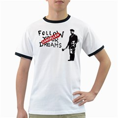 Banksy Graffiti Original Quote Follow Your Dreams Cancelled Cynical With Painter Ringer T by snek