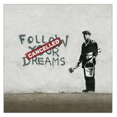 Banksy Graffiti Original Quote Follow Your Dreams Cancelled Cynical With Painter Large Satin Scarf (square) by snek