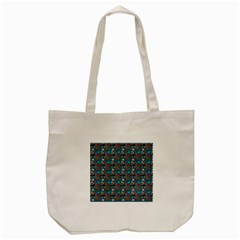 Retro Girls Dress In Black Pattern Blue Teal Tote Bag (cream)