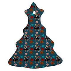 Retro Girls Dress In Black Pattern Blue Teal Christmas Tree Ornament (two Sides)
