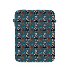 Retro Girls Dress In Black Pattern Blue Teal Apple Ipad 2/3/4 Protective Soft Cases