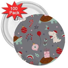 Funny Christmas Pattern 3  Buttons (100 Pack)  by Vaneshart