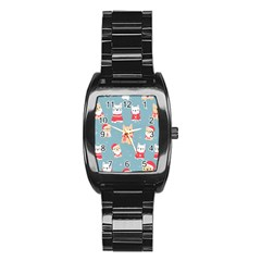 Cute French Bulldog Puppy Dog Christmas Costume Seamless Pattern Stainless Steel Barrel Watch