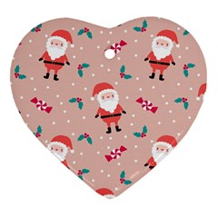 Cute Christmas Santa Seamless Pattern Heart Ornament (two Sides)