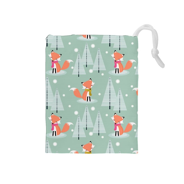 Cute Fox Christmas Winter Seamless Pattern Drawstring Pouch (Medium)