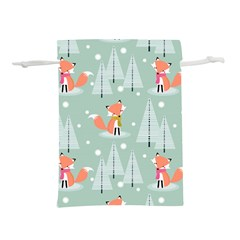Cute Fox Christmas Winter Seamless Pattern Lightweight Drawstring Pouch (m)