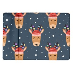 Cute Deer Heads Seamless Pattern Christmas Samsung Galaxy Tab 10 1  P7500 Flip Case