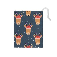 Cute Deer Heads Seamless Pattern Christmas Drawstring Pouch (medium) by Vaneshart
