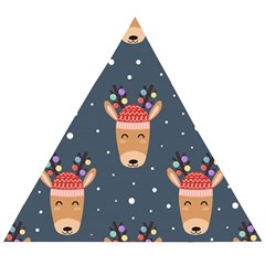 Cute Deer Heads Seamless Pattern Christmas Wooden Puzzle Triangle