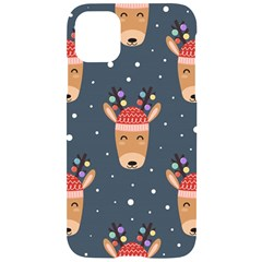 Cute Deer Heads Seamless Pattern Christmas Iphone 11 Black Uv Print Case by Vaneshart