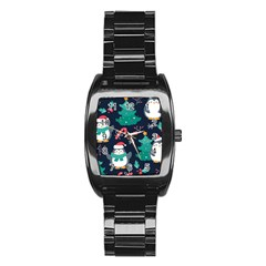 Colorful Funny Christmas Pattern Stainless Steel Barrel Watch by Vaneshart