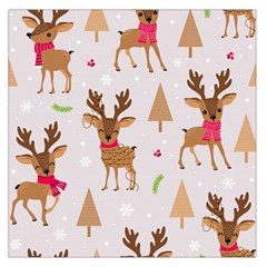 Christmas Seamless Pattern With Reindeer Large Satin Scarf (square)
