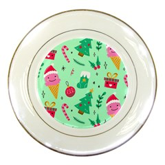 Funny Christmas Pattern Background Porcelain Plates
