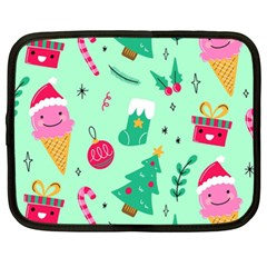 Funny Christmas Pattern Background Netbook Case (xxl)