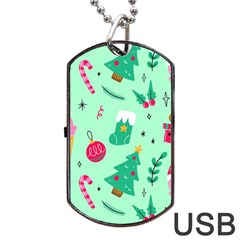 Funny Christmas Pattern Background Dog Tag Usb Flash (two Sides)