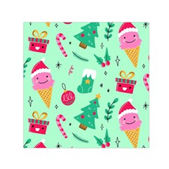 Funny Christmas Pattern Background Small Satin Scarf (square)