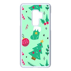 Funny Christmas Pattern Background Samsung Galaxy S9 Plus Seamless Case(white)