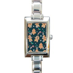 Colourful Funny Christmas Pattern Rectangle Italian Charm Watch