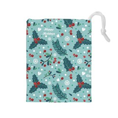 Seamless Pattern With Berries Leaves Drawstring Pouch (large)