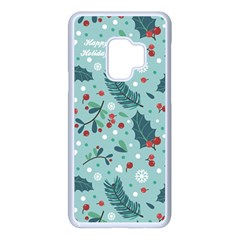 Seamless Pattern With Berries Leaves Samsung Galaxy S9 Seamless Case(white)