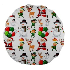 Seamless Pattern Christmas Large 18  Premium Round Cushions
