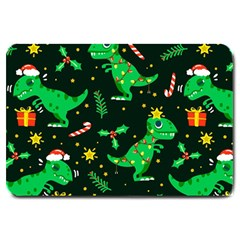 Christmas Funny Pattern Dinosaurs Large Doormat  by Vaneshart